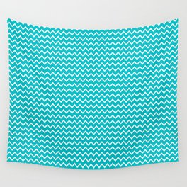 Teal Turquoise Blue Chevron Zigzag Pattern Wall Tapestry