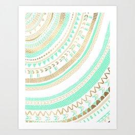 Mint + Gold Tribal Art Print