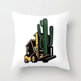 Forklift Truck Lifting Cactus Plant Retro Throw Pillow
