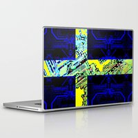 sweden Laptop & iPad Skins featuring circuit board Sweden (Flag) by seb mcnulty