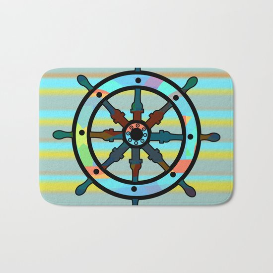 Ship helm and stripes Bath Mat