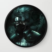 kakashi Wall Clocks featuring Kakashi of the sharingan  by Shibuz4