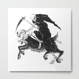 Reaper grim riding a goat - black and white - gothic skull Metal Print