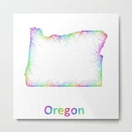 Rainbow Oregon map Metal Print