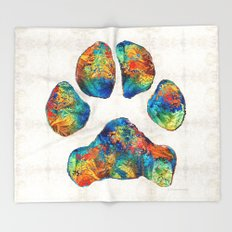 Colorful Dog Paw Print by Sharon Cummings Throw Blanket