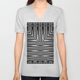 Geometric Black and White African Inspired Pattern Unisex V-Neck