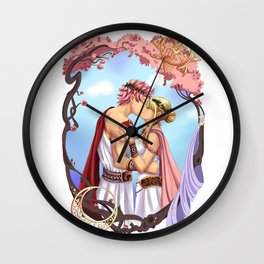 Natsu and Lucy- Gods of Old Wall Clock
