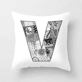Cutout Letter V Throw Pillow