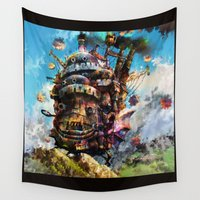 hayao miyazaki Wall Tapestries featuring howl's moving castle by ururuty