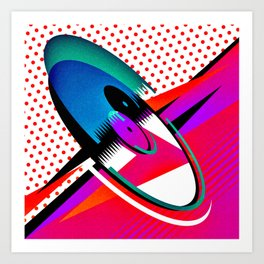 Eighties Retro Vinyl Rock Album Pop Art with Polka Dots Art Print