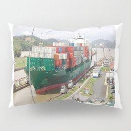 A cargo ship crossing the Miraflores locks at the Panama Canal Pillow Sham