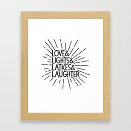 LOVE & LIGHTS & LATKES & LAUGHTER Hanukkah ampersand design Framed Art Print