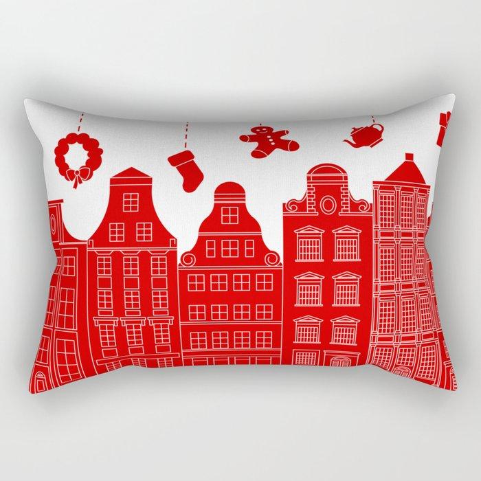 Very Merry Christmas Street Rectangular Pillow