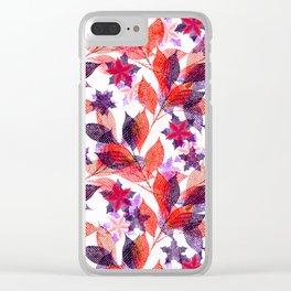 Red, or purple flowers and branches on a white background. Clear iPhone Case