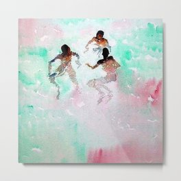 African American Boys, The Summer Swimming Hole portrait by Fred Soldwedel Metal Print