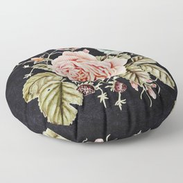 Rose and Foxglove Moody Watercolor Floor Pillow