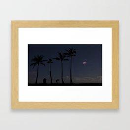 Super Blood Wolf Moon Eclipse Over Kahala. Framed Art Print