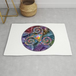 Watercolor Trisquel and Leaves Background Rug