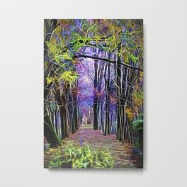 walk in the autumn forest with mist Metal Print