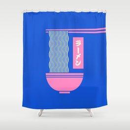 Ramen Japanese Food Noodle Bowl Chopsticks - Blue Shower Curtain