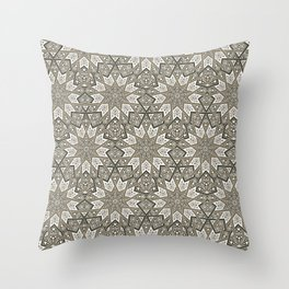 Nine Fold patter in beige Throw Pillow