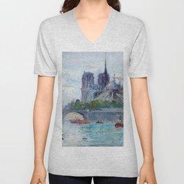 "Gustave Madelain ""The Seine and Notre Dame"" Unisex V-Neck"
