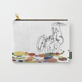 A man and a dog on An elephant back Carry-All Pouch