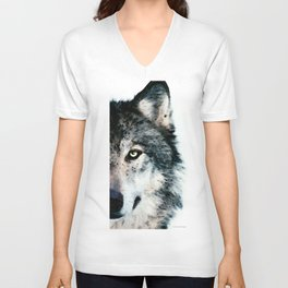 Wolf Art - Timber by Sharon Cummings Unisex V-Neck
