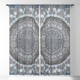 Dark Blue Grey Mandala Design Sheer Curtain
