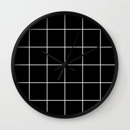 white grid on black background - Wall Clock