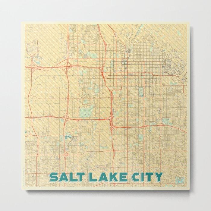 Salt Lake City Map Retro Metal Print