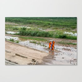 Monks in the Riverbed, Vientiane, Laos Canvas Print