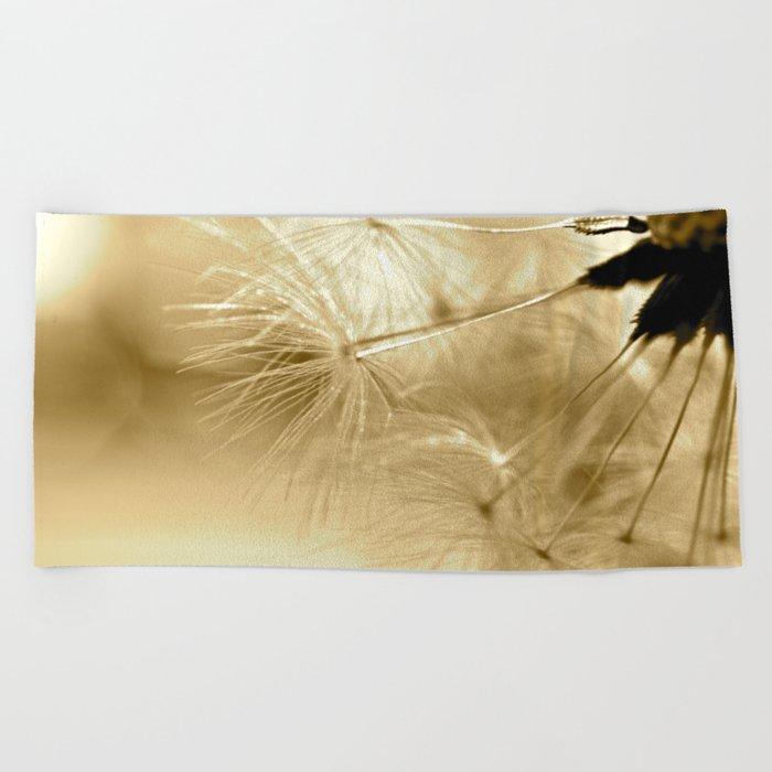 Diana's Dandelion Sepia Beach Towel
