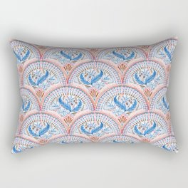 Art Deco Fresco in Sky Blue and Coral Rectangular Pillow