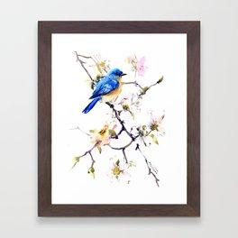 Bluebird and Dogwood, bird and flowers spring colors spring bird songbird design Framed Art Print