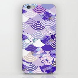 Nature background with japanese sakura flower, Cherry, wave circle. Ultra Violet Color of the Year iPhone Skin
