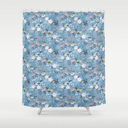 Birds & Blooms (Blue) Shower Curtain