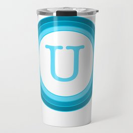 Blue letter U Travel Mug