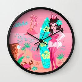 Hawaii Burlesque Festival Beach Bunny Wall Clock