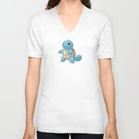 squirtle V-neck T-shirts featuring PIXELATED SQUIRTLE by DrakenStuff+