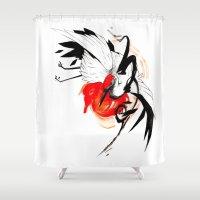 crane Shower Curtains featuring CRANE INKTOBER by Rubis Firenos