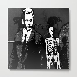 Dr. Hughes And The Skeleton In His Classroom Metal Print