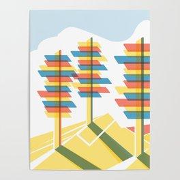 Retro Future Trees Litho Poster