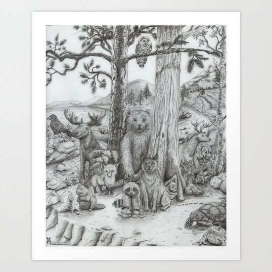Woodland Friends Art Print