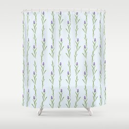 Modern artistic pastel blue lavender watercolor floral pattern Shower Curtain