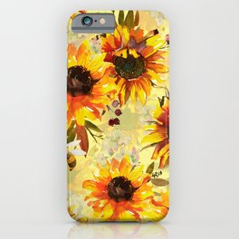 Sunflowers And Bees Forever - Sunflower Pattern iPhone Case
