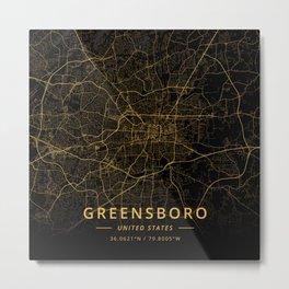 Greensboro, United States - Gold Metal Print
