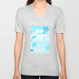 Blue Flower Art Winter Holiday Unisex V-Neck