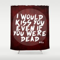 shaun of the dead Shower Curtains featuring Dead by luovia malleja