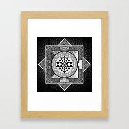 Sri Yantra Black & White Sacred Geometry Mandala Framed Art Print